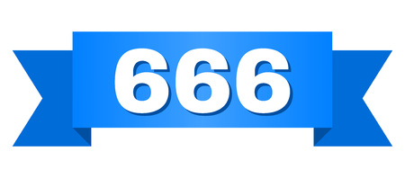 666 text on a ribbon. Designed with white caption and blue tape. Vector banner with 666 tag.