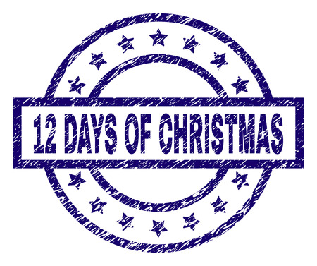 12 DAYS OF CHRISTMAS stamp seal watermark with distress texture. Designed with rectangle, circles and stars. Blue vector rubber print of 12 DAYS OF CHRISTMAS caption with dirty texture.