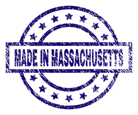 MADE IN MASSACHUSETTS stamp seal watermark with grunge texture. Designed with rectangle, circles and stars. Blue vector rubber print of MADE IN MASSACHUSETTS label with corroded texture.