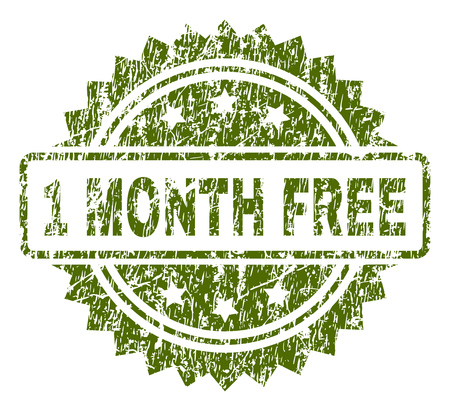 1 MONTH FREE stamp seal watermark with rubber print style. Green vector rubber print of 1 MONTH FREE tag with scratched texture.