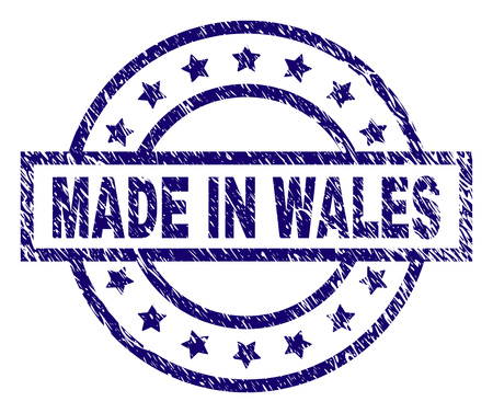 MADE IN WALES stamp seal watermark with distress texture. Designed with rectangle, circles and stars. Blue vector rubber print of MADE IN WALES title with grunge texture.
