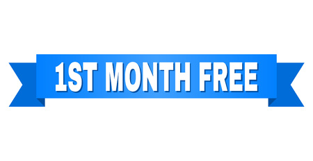 1ST MONTH FREE text on a ribbon. Designed with white caption and blue tape. Vector banner with 1ST MONTH FREE tag. Banque d'images - 105893924