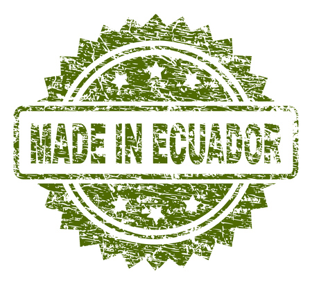 MADE IN ECUADOR stamp seal watermark with rubber print style. Green vector rubber print of MADE IN ECUADOR tag with unclean texture.