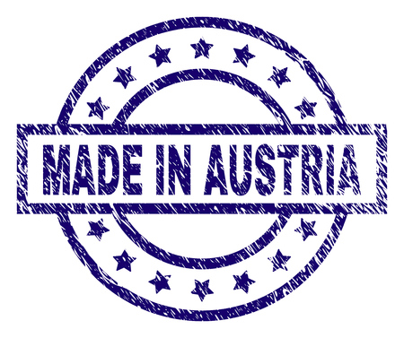 MADE IN AUSTRIA stamp seal watermark with distress texture. Designed with rectangle, circles and stars. Blue vector rubber print of MADE IN AUSTRIA text with scratched texture.