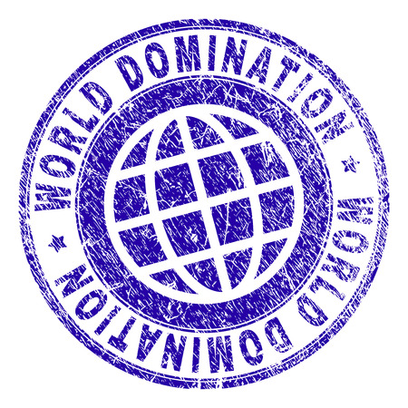 WORLD DOMINATION stamp watermark with distress texture. Blue vector rubber print of WORLD DOMINATION caption with corroded texture. Seal has words placed by circle and planet symbol.
