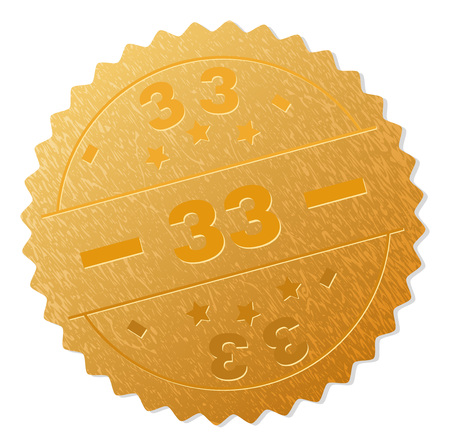 33 gold stamp seal. Vector golden medal of 33 title. Text labels are placed between parallel lines and on circle. Golden surface has metallic texture.