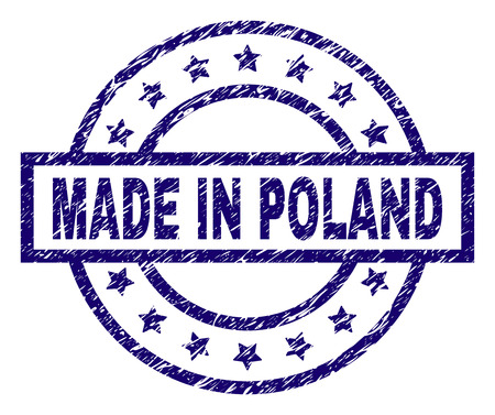 MADE IN POLAND stamp seal watermark with distress texture. Designed with rectangle, circles and stars. Blue vector rubber print of MADE IN POLAND caption with unclean texture.