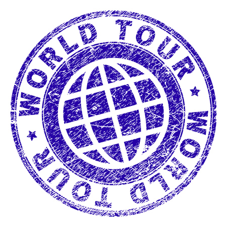 WORLD TOUR stamp watermark with distress texture. Blue vector rubber print of WORLD TOUR label with retro texture. Seal has words arranged by circle and globe symbol.