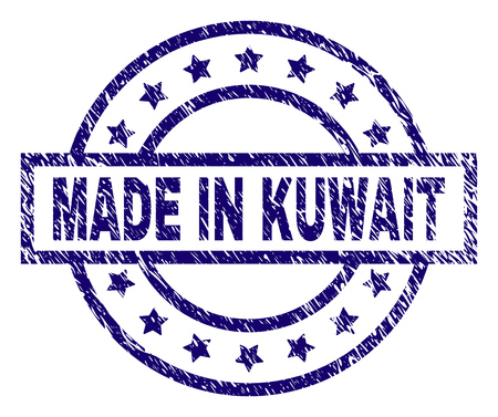 MADE IN KUWAIT stamp seal watermark with distress texture. Designed with rectangle, circles and stars. Blue vector rubber print of MADE IN KUWAIT label with grunge texture.