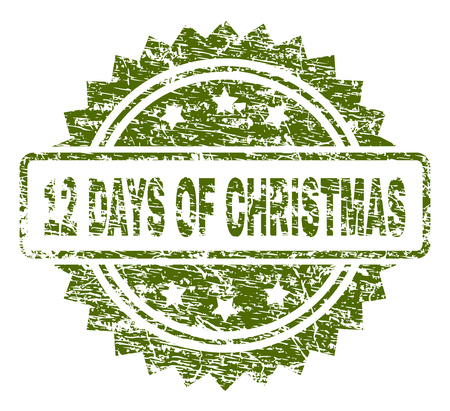 12 DAYS OF CHRISTMAS stamp seal watermark with rubber print style. Green vector rubber print of 12 DAYS OF CHRISTMAS title with scratched texture.