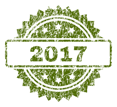 2017 stamp seal watermark with rubber print style. Green vector rubber print of 2017 text with dirty texture. Illustration