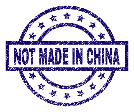 NOT MADE IN CHINA stamp seal watermark with grunge texture. Designed with rectangle, circles and stars. Blue vector rubber print of NOT MADE IN CHINA label with grunge texture. Illustration