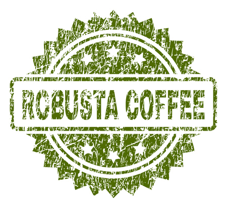 ROBUSTA COFFEE stamp seal watermark with rubber print style. Green vector rubber print of ROBUSTA COFFEE text with grunge texture.