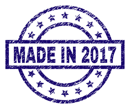 MADE IN 2017 stamp seal watermark with grunge texture. Designed with rectangle, circles and stars. Blue vector rubber print of MADE IN 2017 tag with unclean texture.
