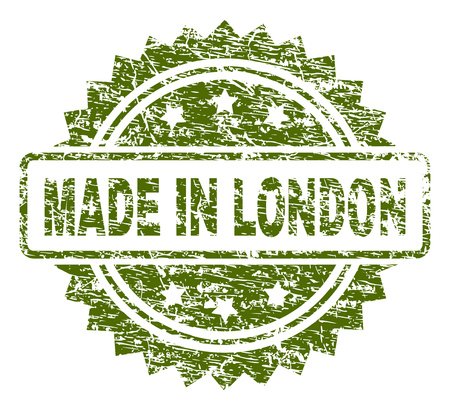 MADE IN LONDON stamp seal watermark with rubber print style. Green vector rubber print of MADE IN LONDON title with unclean texture. Illustration