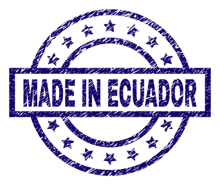 MADE IN ECUADOR stamp seal watermark with distress texture. Designed with rectangle, circles and stars. Blue vector rubber print of MADE IN ECUADOR title with dust texture.