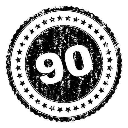 90 stamp seal watermark with distress style. Black vector rubber print of 90 text with dirty texture. Rubber seal imitation has circle shape and contains stars. Vector Illustration