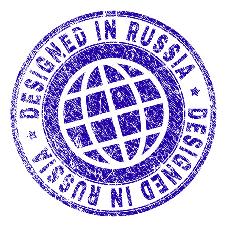 DESIGNED IN RUSSIA stamp watermark with grunge texture. Blue vector rubber print of DESIGNED IN RUSSIA tag with unclean texture. Seal has words placed by circle and planet symbol.