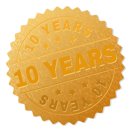 10 YEARS gold stamp seal. Vector gold medal of 10 YEARS text. Text labels are placed between parallel lines and on circle. Golden surface has metallic texture.