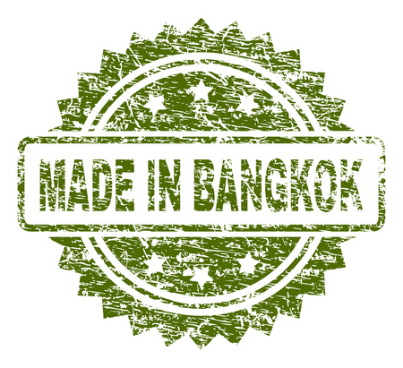 MADE IN BANGKOK stamp seal watermark with grunge style. Green vector rubber print of MADE IN BANGKOK label with unclean texture.