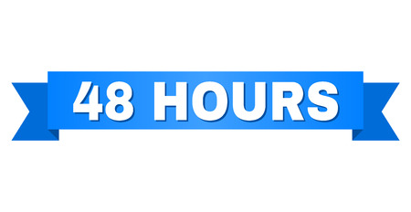 48 HOURS text on a ribbon. Designed with white caption and blue tape. Vector banner with 48 HOURS tag.