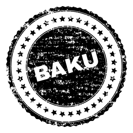 BAKU stamp seal watermark with distress style. Black vector rubber print of BAKU title with dust texture. Rubber seal imitation has circle shape and contains stars.