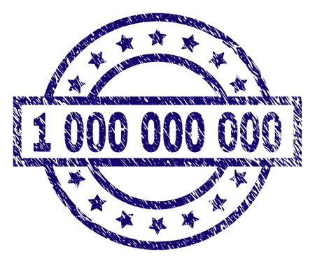 1 000 000 000 stamp seal watermark with distress texture. Designed with rectangle, circles and stars. Blue vector rubber print of 1 000 000 000 label with corroded texture. Illustration