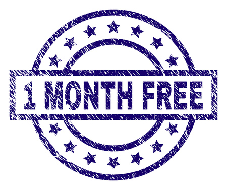 1 MONTH FREE stamp seal watermark with grunge texture. Designed with rectangle, circles and stars. Blue vector rubber print of 1 MONTH FREE text with corroded texture.