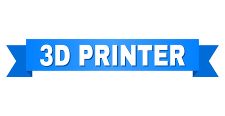 3D PRINTER text on a ribbon. Designed with white title and blue tape. Vector banner with 3D PRINTER tag.