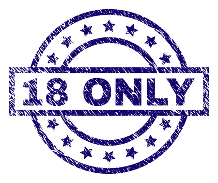 18 ONLY stamp seal watermark with grunge texture. Designed with rectangle, circles and stars. Blue vector rubber print of 18 ONLY title with grunge texture. Banque d'images - 105894261