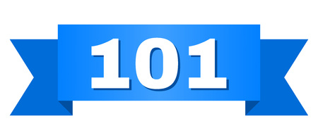 101 text on a ribbon. Designed with white title and blue tape. Vector banner with 101 tag.