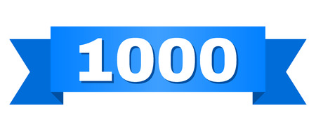 1000 text on a ribbon. Designed with white caption and blue stripe. Vector banner with 1000 tag. Иллюстрация