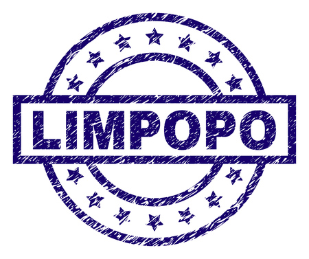 LIMPOPO stamp seal watermark with distress texture. Designed with rectangle, circles and stars. Blue vector rubber print of LIMPOPO label with unclean texture. Foto de archivo - 105894346