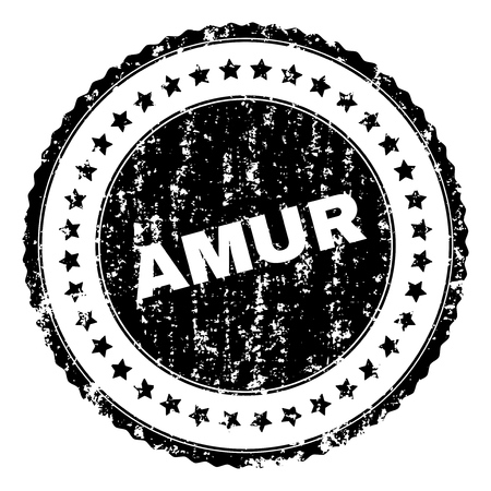 AMUR stamp seal watermark with distress style. Black vector rubber print of AMUR caption with dust texture. Rubber seal imitation has round shape and contains stars.
