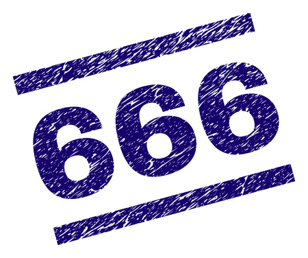 666 stamp seal watermark with scratced style. Blue vector rubber print of 666 text with grunge texture. Text label is placed between parallel lines.