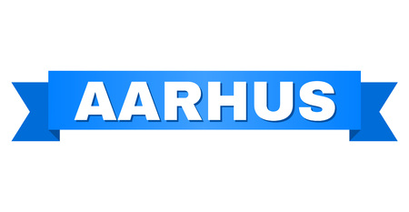 AARHUS text on a ribbon. Designed with white caption and blue stripe. Vector banner with AARHUS tag. Illustration