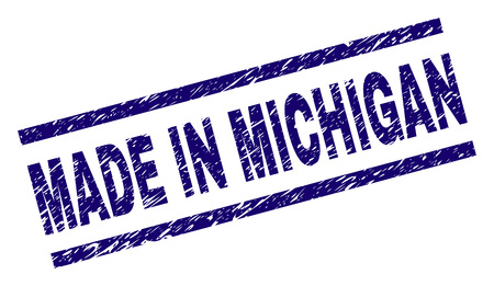 MADE IN MICHIGAN stamp seal watermark with grunge style. Blue vector rubber print of MADE IN MICHIGAN label with grunge texture. Text label is placed between parallel lines. 向量圖像