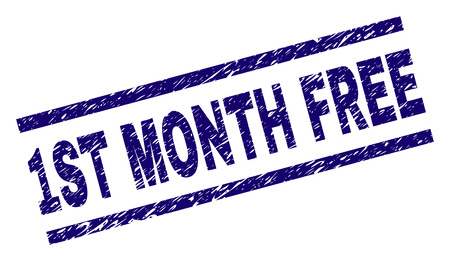 1ST MONTH FREE stamp seal watermark with scratced style. Blue vector rubber print of 1ST MONTH FREE text with unclean texture. Text label is placed between parallel lines. Illustration