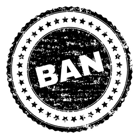 BAN stamp seal watermark with distress style. Black vector rubber print of BAN title with dust texture. Rubber seal imitation has circle shape and contains stars.