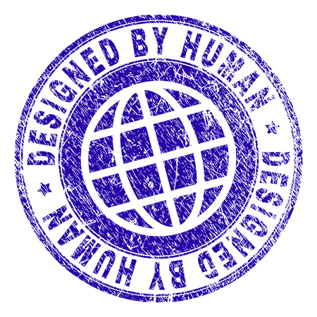 DESIGNED BY HUMAN stamp watermark with grunge texture. Blue vector rubber print of DESIGNED BY HUMAN title with dirty texture. Seal has words placed by circle and globe symbol. Illustration
