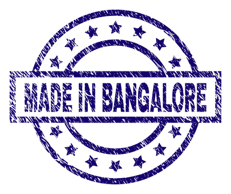 MADE IN BANGALORE stamp seal watermark with grunge texture. Designed with rectangle, circles and stars. Blue vector rubber print of MADE IN BANGALORE caption with corroded texture.