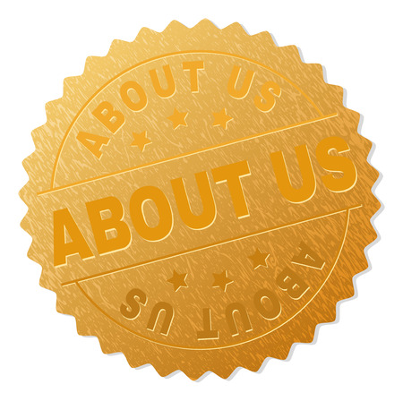 ABOUT US gold stamp seal. Vector golden medal of ABOUT US text. Text labels are placed between parallel lines and on circle. Golden surface has metallic texture.