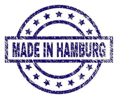 MADE IN HAMBURG stamp seal watermark with grunge texture. Designed with rectangle, circles and stars. Blue vector rubber print of MADE IN HAMBURG caption with grunge texture.
