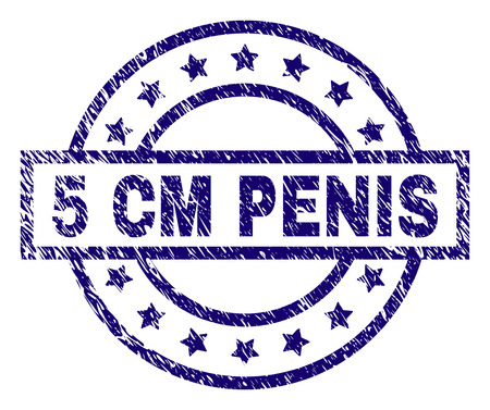 5 CM PENIS stamp seal watermark with distress texture. Designed with rectangle, circles and stars. Blue vector rubber print of 5 CM PENIS text with grunge texture.