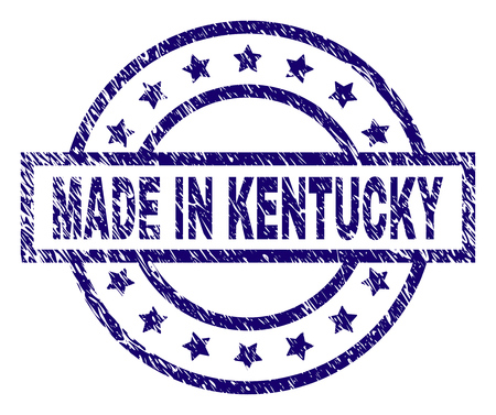 MADE IN KENTUCKY stamp seal watermark with distress texture. Designed with rectangle, circles and stars. Blue vector rubber print of MADE IN KENTUCKY tag with dust texture.
