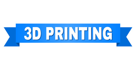 3D PRINTING text on a ribbon. Designed with white caption and blue tape. Vector banner with 3D PRINTING tag.