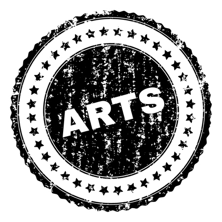 ARTS stamp seal watermark with distress style. Black vector rubber print of ARTS title with retro texture. Rubber seal imitation has round shape and contains stars. Illusztráció