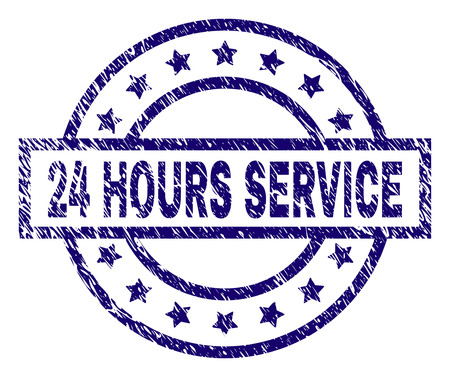24 HOURS SERVICE stamp seal watermark with distress texture. Designed with rectangle, circles and stars. Blue vector rubber print of 24 HOURS SERVICE title with scratched texture. Stok Fotoğraf - 105894514