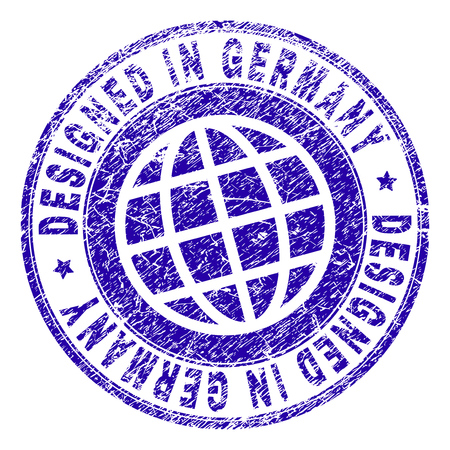 DESIGNED IN GERMANY stamp watermark with grunge texture. Blue vector rubber print of DESIGNED IN GERMANY label with dirty texture. Seal has words arranged by circle and globe symbol.