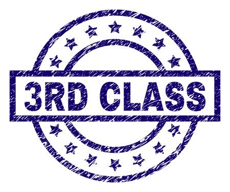 Filigrane de sceau de cachet de 3ème CLASSE avec texture de détresse. Conçu avec un rectangle, des cercles et des étoiles. Impression en caoutchouc de vecteur bleu de l'étiquette 3ème CLASSE avec texture de poussière. Vecteurs